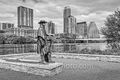 austin, austin texas, stevie ray vaughn, staue, town lake, lady bird lake, hike and bike trail, downtown, skyline, austin skyline, clouds, city, w building, austonian, high rise, skyscapers, black and