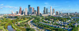 Houston, Aerial Houston skyline Panorama, aerial, skyline, cityscape, pano, panorama, cityscapes, daytime, city, park, skylines, downtown, skyscrapers, bayou, green, Eleanor tinsley Park, Jamail Skate