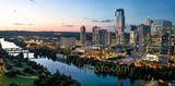 Austin Skyline, austin lady bird lake, dusk, twilight, Austin, skyline, austin skyline pictures, aerial, twilight, dusk, blue hour, lady bird lake, hike and bike trail, cityscape, water, pano, butler