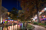 Christmas, Riverwalk, San Antonio, boat decorated, city, cityscape, cityscapes, colorful, decorations, downtown, holiday, lights, toursit, trees, urban