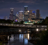 Houston skyline, Rosemont, pedestrian bridge, pano, panorama, buffalo Bayou, downtown,night, city, parks, cultural events, theater district, sports, music, events, performing arts, Houston stock