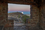 Davis mountain State Park, moon rise, rock building overlook, blue hour, violet colors, Fort Davis, overlook, landscape, Texas,  Fort Davis, west texas