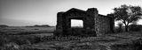 Davis Mountain Overlook, panorama, pano, rock building, Texas landscape, mountain, Davis Mountain State Park, black and white, bw, Fort Davis, Texas