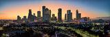 Houston skyline, Sunrise, glow, pano, panorama, Buffalo Bayou, skylines, Houston cityscape, cityscapes, downtown, reflections, pinks, oranges, sky, morning, city views, city, cities, high rise, Housto