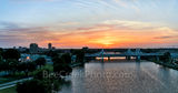 Waco, skyline, cityscape, Brazos River bridge, aerial, sunset, downtown, IH35 stay bridge, orange glow, dusk, colorful led, texas, Jack Kultgen Freeway,pano, panorama, Alcoa, Baylor University Tower