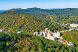 Tower Mountain, Hot Springs, color, fall, trees, hillside, Arlington Hotel,, Medical Art Building, cityscape, downtown, tourist, town, hills