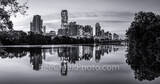 Austin skyline, Skyline of Austin, Lou Neff Point, Lou Neff, black and white, b w , reflections, lady bird lake, downtown, austin, skyline, texas skylines, urban, water, town lake, independent, lamar