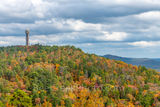fall, tower mountain, colors, Hot Spring, Arkansas, National Forest, hill side, moody, skies, everygreen, pines, orange, pink, sugar maples, red maples, yellow, black hickory, sweet gym