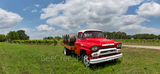 Hill country winery, bright red truck, wine, barrels, grapes, grape vines, pano, panorama, clouds, blue sky, texas hill country, 1851, truck