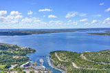 Austin, Lake Travis, aerial, blue sky, boating, clouds, day, lake, laketravis, landscape, marina, recreational, scenic, swimming, view, water sports
