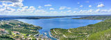 Austin, Hill Country, Lake Travis, aerial, blue sky, boating, boats, clouds, drone, lake, landscape, marina, pano, panorama, recreational, sailing, water