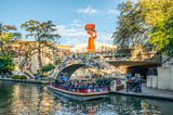 San Antonio River Walking Bridge , River walk, San Antonio, Torch of Friendship, city, cityscape, cityscapes, clouds, colorful, colorful umbrellas, downtown, river boats, tourist, water, riverwalk