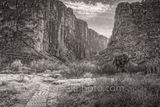 Santa Elena Canyon, black and white, bw, Big bend national park, black and white, bw, texas landscape, river rocks, blue sky, nice clouds, canyons, mountains, Mexico, Ross Maxwell scenic drive, Chiso