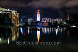texas, austin texas, downtown austin, ut, night, ut tower, burnt orange, campus, austin, landmark,  reflection, water, fountain, stadium, night, university of texas, campus,, orange, school, city