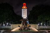 UT, Littlefield Fountain, night, UT Tower, burnt orange, campus,, downtown, Austin, water, fountain, flowing, WW1 memorial, football