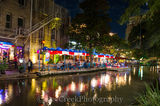 Republic of Texas, River Walk, San Antonio, blue, boat, city, cityscape, dinner, downtown, night, red, restaurant, white