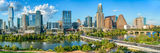 Aerial Austin Skyline, Austin, skyline, aerial, lady bird lake, hike and bike trail, cityscape, water, pano, panorama, tallest building, Independent, Jingle, Google, Northshore Condos, W, building, ci