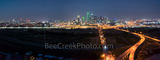 Dallas skyline, pano, panorama, dark, aerial, city, roads, downtown, Trinity river, Margaret Hunt Hill Bridge, Margaret McDermott bridge, skyscrapers, Bank of America, landmark, Reunion tower, Comeric