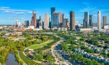 Aerial Houston Over Buffalo Bayou