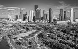 Houston, Aerial Houston skyline Panorama, aerial, skyline, black and white, cityscape, cityscapes, city, park, skylines, downtown, skyscrapers, bayou, green, Eleanor tinsley Park, Jamail Skate Park, d