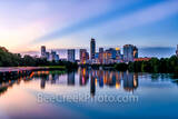 Austin Skyline, blue hour, twilight, violet crown, austin, skyline, pics of texas, boardwalk, violet, purple, pink, sunset, blue hour, buildings, reflections, water, lady bird lake, downtown, urban