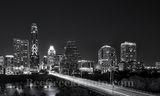 Austin, cityscape, skyline, black and white, BW, Congress bridge, night, downtown, high rise, buildings, Lady Bird Lake, city