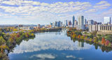 Austin Cityscape Panorama,  cityscape, aerial, pano, panorama, Lady Bird Lake, fall, colors, trees, shoreline, city, downtown, water, reflected, clouds, high rise, buildings, Austin skyline