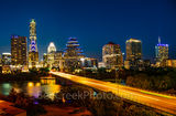 Austin, Downtown, austin Skyline pictures, skyline, cityscape, congress, ave, Austonian, Frost, Fairmont, night, dark, street, Ann Richards Congress Ave, bat bridge