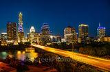 Austin, Downtown, Skyline, skyline, cityscape, congress, ave, Austonian, Frost, Fairmont, night, dark, street, Ann Richards Congress Ave, bat bridge