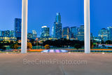 Austin Long Center Twilight, Long Center, Lady Bird Lake, performing art, pavillian, Austin skyline, cityscape, city, downtown