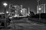 Austin, Pfluger bridge, pedestrian bridge, town lake, Ladybird Lake, Austin Pfluger Bridge at Night BW, black and white, James D. Pfluger Pedestrian and Bicycle Bridge , downtown, condos, walking, bic
