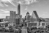 Austin Skyline in Black and White, aerial, austin skyline, downtown, skyline, city, cityscape, black and white, BW, Congress Ave, high-rise, buildings, Frost, Austonian, One Congress Plaza, Radisson