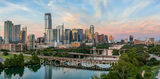 Austin skyline, aerial, drone, sunset, pics of texas, pics of austin, lamar bridge, lady bird lake, clouds, pink, orange, sky, clouds, hike and bike trail, architecture, urban landscape, bridges