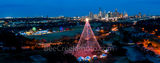 Austin, Aerial, Zilker Christmas Tree, Austin skyline, downtown, pano, panorama, holiday season, trail of lights
