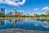 Austin, skyline, cityscape, Austin Skyline Reflection, downtown, water, Long Center, reflections, cityscape, city, blue sky, clouds, buildings, high rise, images of austin, images of austin skyline, T