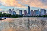 Austin Skyline, Sunset, urban, pink, glow, lady bird lake, shoreline, boardwalk, high rise, buildings, pics of texas, skyline, parks, hike and bike trails, landscape