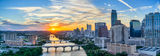 Austin, aerial, cityscape, panorama, pano, downtown, Ladybird Lake, sunset, city, high-rises, waterfront, congress bridge, Lamar Street Bridge, Austonian, 360 Condos, W, Marriott, Four Season, Frost