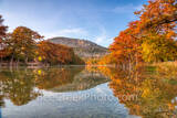 autumn, fall, texas hill country, frio river, river, garner state park, reflections, water, red, orange, colors, bald cypress, cypress trees, banks, old baldy, mountain, blue sky, whispy clouds, garne