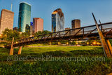Houston, bagby,  sabine, promenade, bridge, downtown, skyline, blue hour, dusk, pedestrian bridges, america, cityscapes, stock bridge photos, houston stock, bridge, images of houston, city, US, street