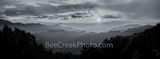 smoky mountains, blue ridge mountains, sunset, haze, smoke, blue ridge parkway, blue ridge mountain, horizon, panorama, pano, north carolina, asheville, south carolina, black and white, b w, bw, great