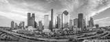 Houston, skyline, aerial, black and white, bw, cityscape, clouds, low light, city, downtown, skyscrapers, buildings, high rise, IH45, museum district, art, culture, music, population, drone, urban, US