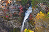 Cedar Fall, waterfall, cliff, red maples, pines, cedars, fall, autumn, flow, color, green, reds, close up, arkansas, jean petit, fall colors,