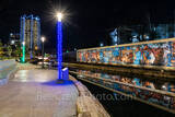 San Antonio, Frost Tower, San Pedro Creek, reflections, water, Christmas, holiday, lights, color lights in the water, cityscape,