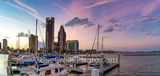 Corpus Christi, skyline, corpus skyline, city, sunset, marina, bay, harbor bridge, water, boats, dusk, panorama, pano, sailboats, dock, seascape, oceanscape, clouds, colorful skies, battleship, bridge