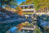 covered bridge, ozarks, fall, autumn, bridge, color, reflection, reflections, autumn, day, pool, water, creek, natural, wilderness, forest, fall colors, fall color, autumn color, fall scenery,