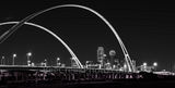 Dallas skyline, black and white, BW, cityscape, Margaret McDermott Bridge, downtown, dark, steel bridge, suspended, two arches, Trinity River, I30, Trinity project, Santiago Calatrava, pedestrian, bik