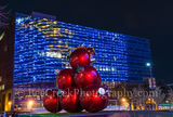 Christmas ornaments, Dallas, Omni, abstract, colors, lights, oversized, red, reflections