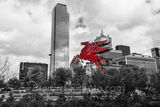 Dallas Downtown BW, red pegasus, skyline, Dallas downtown, black and white, BW, Pegasus, Magnolia Petroleum Building, Magnolia Hotel, flying horse, red pegasos, greek mythology, Bank of America plaza