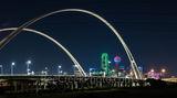 Dallas, skyline, cityscape, Margaret McDermott Bridge, downtown, dark, steel bridge, suspended, two arches, Trinity River, I30, Trinity project, Santiago Calatrava, pedestrian, bike path, park, trails