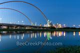 Dallas McDermott Bridge, Reflection Twilight, Dallas skyline, dallas pictures, images, McDermontt bridge, Dallas photos, skyline, cityscape, Margaret McDermott Bridge, downtown, architectural, dark, s